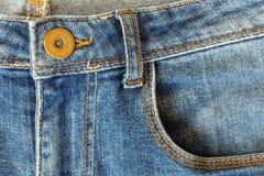 υλική σύσταση μερών τζιν παντελόνι Στοκ Φωτογραφία