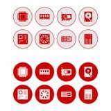 Υλικό υπολογιστών γύρω από τα εικονίδια Ιστού καθορισμένα - κόκκινο Στοκ εικόνες με δικαίωμα ελεύθερης χρήσης