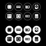 Υλικό υπολογιστών γύρω από τα εικονίδια Ιστού καθορισμένα Στοκ Φωτογραφία