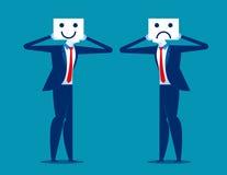 υλοτομία Χαμόγελο εκμετάλλευσης επιχειρηματιών και λυπημένη μάσκα Επιχείρηση έννοιας διανυσματική απεικόνιση