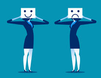 υλοτομία Χαμόγελο εκμετάλλευσης επιχειρηματιών και λυπημένη μάσκα ελεύθερη απεικόνιση δικαιώματος