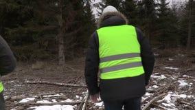 Υλοτόμοι με τα ευρο- τραπεζογραμμάτια στο δάσος απόθεμα βίντεο