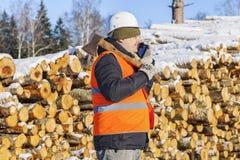 Υλοτόμος που μιλά στο τηλέφωνο κοντά στο σωρό των κούτσουρων Στοκ εικόνα με δικαίωμα ελεύθερης χρήσης