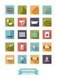 Υδραυλικά και επίπεδο σύνολο εικονιδίων σχεδίου εξοπλισμού λουτρών ελεύθερη απεικόνιση δικαιώματος