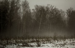 Υδρονέφωση το χειμώνα στα λειτουργώντας ικριώματα Στοκ φωτογραφία με δικαίωμα ελεύθερης χρήσης