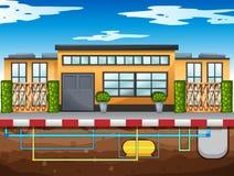 Υδροσωλήνας που τρέχει κάτω από το σπίτι ελεύθερη απεικόνιση δικαιώματος