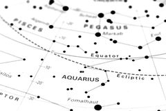 Υδροχόος στο χάρτη αστεριών Στοκ Φωτογραφίες
