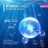 Υδρο ενεργειακό Coenzyme Q10 πτώση φυσαλίδων molecula υγρασίας απεικόνιση αποθεμάτων