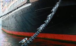 Υδρόβια πουλιά στην αλυσίδα του σκάφους Στοκ Φωτογραφίες