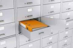 Φάκελλος συνδέσμων γραφείων στο ανοιγμένο κιβώτιο κατάθεσης τράπεζας ασφαλές τρισδιάστατο renderi Στοκ Φωτογραφία