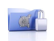Φάκελλος και κλειδαριά το συμβατικό στοιχείο αντιγράφων έννοιας αλυσίδων σχεδιάζει συσκευών hdd το κλειδωμένο διάστημα ασφάλειας  Στοκ Εικόνα