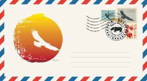 Φάκελος με ένα γραμματόσημο με τον αετό Στοκ Εικόνες