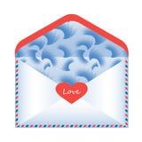 Φάκελος με τις δηλώσεις αγάπης σχετικά με ένα άσπρο υπόβαθρο, Στοκ Εικόνα