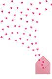 Φάκελος με τις πετώντας καρδιές στο άσπρο υπόβαθρο Στοκ εικόνα με δικαίωμα ελεύθερης χρήσης
