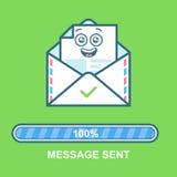 Φάκελος emoticon Επίπεδο σχέδιο χαρακτήρα ηλεκτρονικού ταχυδρομείου απεικόνισης με το φραγμό προόδου Διαδικασία της αποστολής ηλε Στοκ Εικόνες