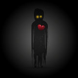 Φάντασμα με την κόκκινη καρδιά στο σκοτάδι διάνυσμα Στοκ φωτογραφία με δικαίωμα ελεύθερης χρήσης