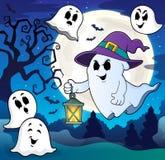 Φάντασμα με το θέμα 8 καπέλων και φαναριών ελεύθερη απεικόνιση δικαιώματος