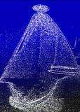 Φάντασμα σκαφών στη θάλασσα τη νύχτα πρόσκληση συγχαρητηρίων καρτών ανασκόπησης διανυσματική απεικόνιση