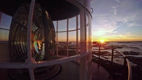 Φάρος και ηλιοβασίλεμα στη Νορβηγία Χειμώνας απόθεμα βίντεο
