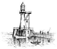 Φάρος και θάλασσα Θαλάσσιο σκίτσο, ναυτικό ταξίδι και seascape Φωτισμός στον ωκεανό χαραγμένος τρύγος, χέρι που σύρεται ελεύθερη απεικόνιση δικαιώματος