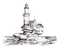 Φάρος και θάλασσα Θαλάσσιο σκίτσο, ναυτικό ταξίδι και seascape Φωτισμός στον ωκεανό χαραγμένος τρύγος, χέρι που σύρεται διανυσματική απεικόνιση