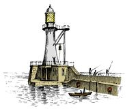 Φάρος και θάλασσα Θαλάσσιο σκίτσο, ναυτικό ταξίδι και seascape Φωτισμός στον ωκεανό χαραγμένος τρύγος, χέρι που σύρεται απεικόνιση αποθεμάτων