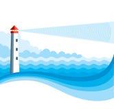 Φάρος και μπλε υπόβαθρο θάλασσας. Στοκ Φωτογραφίες