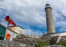 Φάρος και Foghorn του φάρου Ardnamurchan Στοκ Εικόνες