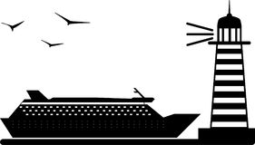 Φάρος με το σκάφος της γραμμής θάλασσας στοκ φωτογραφία