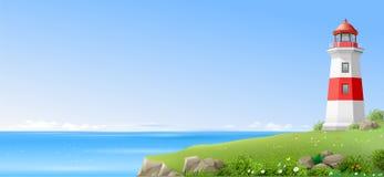 Φάρος σε έναν πράσινο λόφο επάνω από τη θάλασσα Στοκ φωτογραφία με δικαίωμα ελεύθερης χρήσης