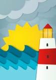 Φάρος στα κύματα και τον ήλιο Στοκ Εικόνα