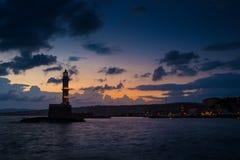 Φάρος στο ηλιοβασίλεμα chania Κρήτη Ελλάδα Στοκ φωτογραφίες με δικαίωμα ελεύθερης χρήσης