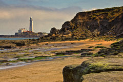 Φάρος του ST Mary ` s, κόλπος Whitley, βορειοανατολική Αγγλία στοκ εικόνα