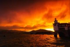 Φάρος Arriluze Getxo στο ηλιοβασίλεμα Στοκ Εικόνα