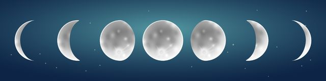 Φάσεις φεγγαριών στην έναστρη διανυσματική απεικόνιση ουρανού διανυσματική απεικόνιση