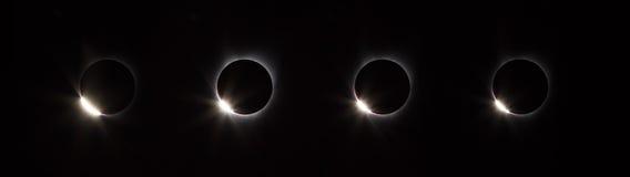 Φάση δαχτυλιδιών διαμαντιών ηλιακής έκλειψης Στοκ Εικόνες