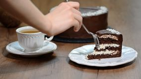 Φάτε ένα κομμάτι του κέικ σοκολάτα-καρύδων απόθεμα βίντεο