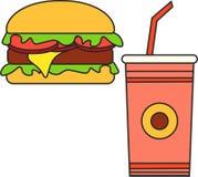 Φάτε πίνει cheeseburger τροφίμων το χάμπουργκερ γεύματος Στοκ εικόνες με δικαίωμα ελεύθερης χρήσης