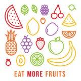 Φάτε περισσότερη κινητήρια διανυσματική κάρτα φρούτων διανυσματική απεικόνιση