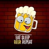 Φάτε την μπύρα ύπνου επαναλαμβάνει τη διανυσματική απεικόνιση έννοιας ή τη θερινή αφίσα διανυσματικός φοβιτσιάρης χαρακτήρας μπύρ διανυσματική απεικόνιση