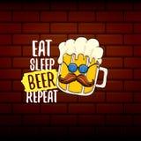 Φάτε την μπύρα ύπνου επαναλαμβάνει τη διανυσματική απεικόνιση έννοιας ή τη θερινή αφίσα διανυσματικός φοβιτσιάρης χαρακτήρας μπύρ ελεύθερη απεικόνιση δικαιώματος