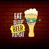 Φάτε την μπύρα ύπνου επαναλαμβάνει τη διανυσματική απεικόνιση έννοιας ή τη θερινή αφίσα διανυσματικός φοβιτσιάρης χαρακτήρας μπύρ απεικόνιση αποθεμάτων