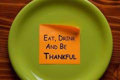 Φάτε το ποτό και να είστε ευγνώμων στοκ εικόνες με δικαίωμα ελεύθερης χρήσης
