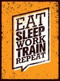 Φάτε το τραίνο εργασίας ύπνου επαναλαμβάνει Απόσπασμα αθλητικού κινήτρου Workout και ικανότητας Δημιουργική διανυσματική έννοια α Στοκ φωτογραφίες με δικαίωμα ελεύθερης χρήσης