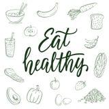 Φάτε υγιή! Καλλιγραφικά σχέδια αποσπάσματος και τροφίμων στο υπόβαθρο διανυσματική απεικόνιση