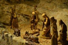 Φάτνη στο παρεκκλησι τομέων ποιμένων, Παραμονή Χριστουγέννων, ξύλινοι αριθμοί, Βηθλεέμ, Παλαιστίνη, Ισραήλ στοκ φωτογραφίες
