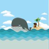Φάλαινα με το νησί θησαυρών Στοκ Εικόνες
