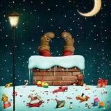 φέρνει το διάνυσμα santa νύχτας απεικόνισης δώρων Claus Χριστουγέννων διανυσματική απεικόνιση