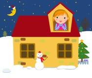 φέρνει το διάνυσμα santa νύχτας απεικόνισης δώρων Claus Χριστουγέννων Στοκ φωτογραφίες με δικαίωμα ελεύθερης χρήσης