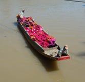 Φέρνοντας λουλούδια Bougainvillea με τη βάρκα σε Tien Giang, Βιετνάμ Στοκ Φωτογραφίες